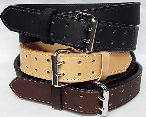 Heavy Duty 2 Ply Plain Leather Gun Belts 1 3/4'' Wide by Leather Belts USA, LLC