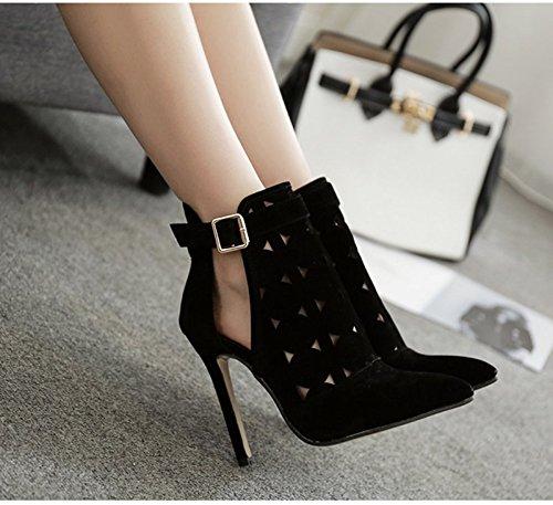 con l'estate scarpe alto Khskx 8 moda 5 Baotou nere scarpe centimetri col tacco donne tutta Trentasei partite bene 6xUq8ax