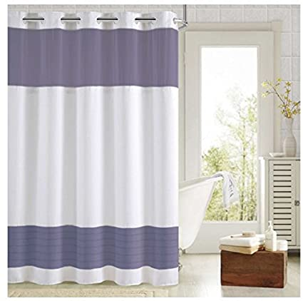 Hookless Aruba Pleats Color Block Shower Curtain Navy White
