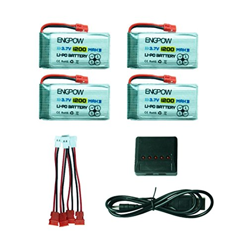 Inverlee 4x 1200mAh 3.7V 25C Battery + 4in1 USB Charger for Syma X5HC X5HW RC Drone (As Picture)