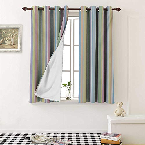 Pastel Blackout Draperies for Bedroom Vertically Striped Pattern Different Colored Straight Lines Classical Old Fashioned Curtains Kitchen Valance W72 x L63 Inch Multicolor