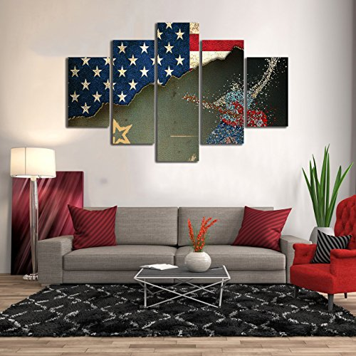 Vintage American Flag Wall Art Paintings Print on Canvas Retro USA Guitar Rock Star Art Picture for Living Room Posters and Print Modern Artwork Decoration 5 Pcs Ready To Hang - 60''W x 40''H