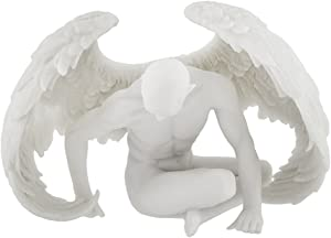 Veronese Design Nude Winged Male Angel Sitting Marble Finish Statue