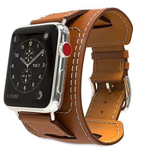MoKo Compatible Band Replacement for Apple Watch 38mm 40mm Series 5/4/3/2/1, Genuine Leather Smart Watch Band Cuff Strap - Brown (Not Fit 42mm 44mm Versions)