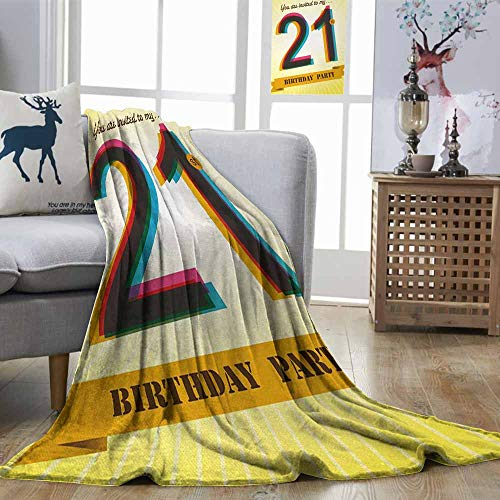 DILITECK 21st Birthday Breathable Blanket Invitation to an Amazing Birthday Party on a Yellow Radial Backdrop Image Easy to Clean Multicolor W70 xL93]()