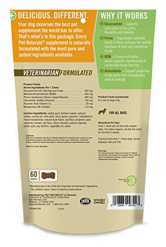 Picture of Pet Naturals of Vermont - Hip + Joint PRO, Daily Hip and Joint Supplement for Dogs, 60 Bite Sized Chews