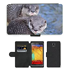 CARD POCKET BOOK CASE PU LEATHER CASE // M00147290 Nutrias Agua Animal Zoo de Vida // Samsung Galaxy Note 3 III N9000 N9002 N9005
