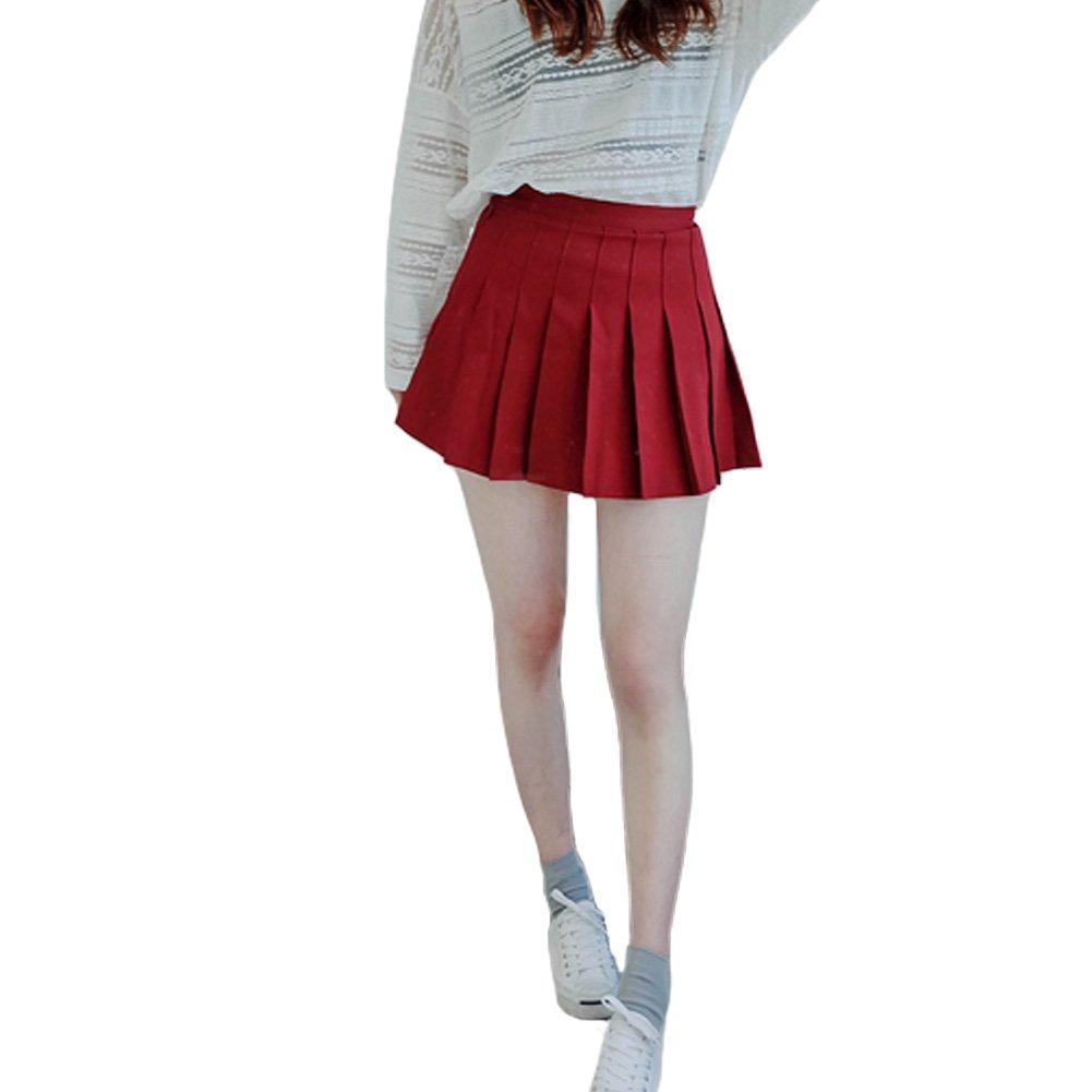 Minuoyi Women Sports High Waist Underpants Tennis Badminton Cheerleader Pleated Skirt (Tag Size S, Claret)
