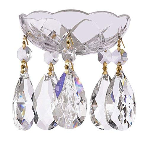 1 Piece - 4-Inch 5 Holes - Clear Asfour Crystal 30% Lead Crystal Chandelier Bobeche with Gold Pin & Teardrop 5 Light Candlestick Chandelier