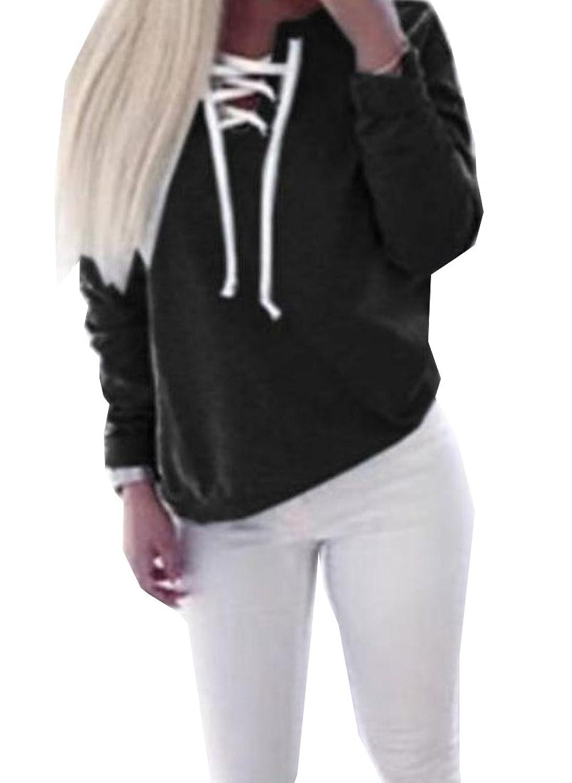 ForeverGod Women's Solid Bandage Pullover Autumn Comfort Stylish Sweatshirts