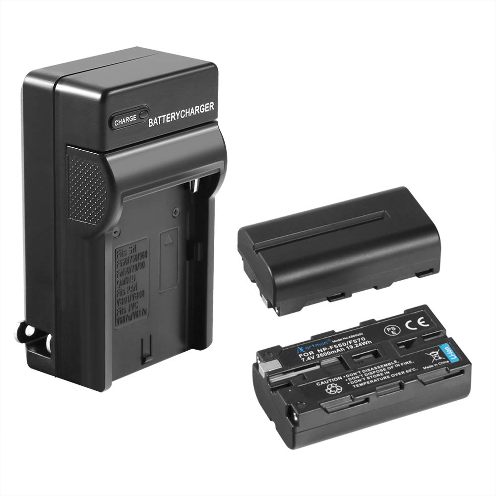 NP-F550 Artman 2-Pack Replacement Battery Kit with One Battery Charger Set for Sony NP F970, F750, F770, F960, F550, F530, F330, F570, CCD-SC55, TR516, TR716, TR818, TR910, TR917 and More by A Artman