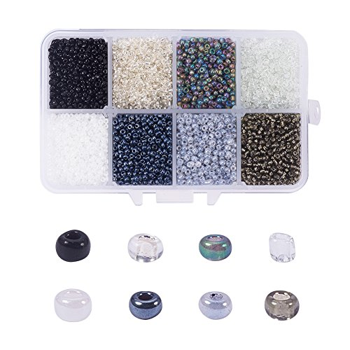 (NBEADS 1 Box 8 Color 12/0 Round Glass Seed Beads 2mm Loose Spacer Beads Pony Beads with Hole for DIY Craft Bracelet Necklace Jewelry Making)