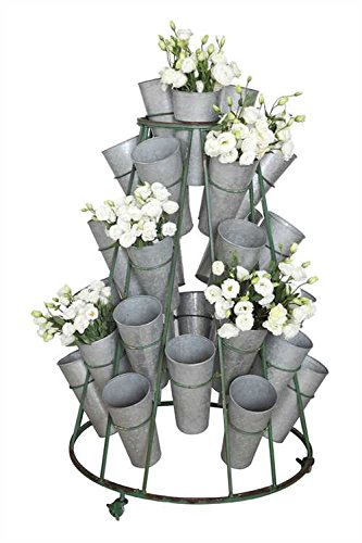 Tin Flower Buckets Round Rolling Metal Stand (Flower Bucket Stand)