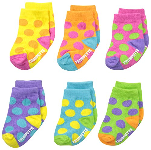 Trumpette Baby Girl - Trumpette Baby-Girls 6-pairs Newborn Bright Dots Socks, Multi, 0-12 Months
