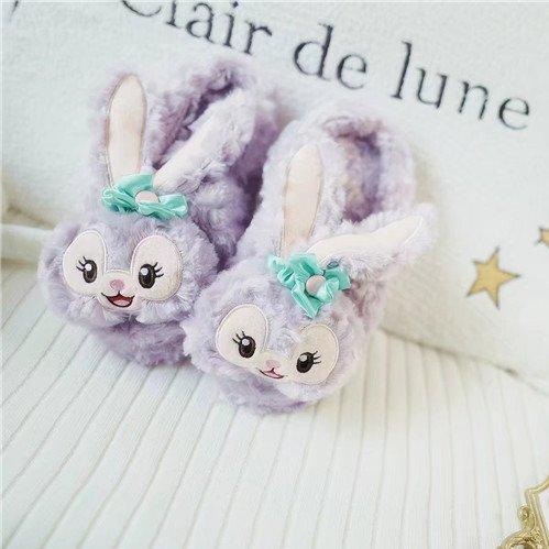 chaussons d'hiver étage 36 femme laine lapin de maison violet épais 37 chaussons coton agréable chaud de Cartoon ballet U5P0xwBB