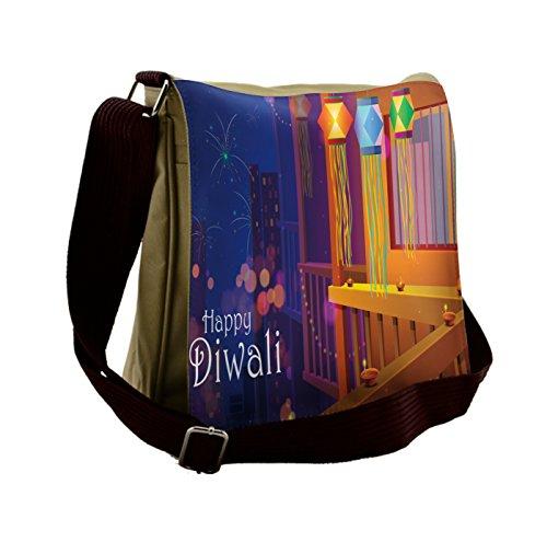 Lunarable Diwali Messenger Bag, Cartoon Style Festive Town, Unisex Cross-body by Lunarable