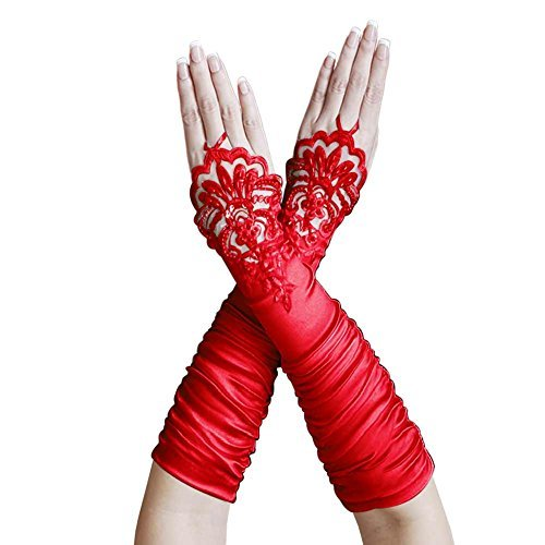 Red Gathered Satin (ZaZa Bridal Gathered Satin Fingerless Gloves w/ Floral Embroidery Lace & Sequins-Red)