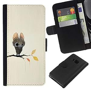 ZCell / HTC One M9 / Bat Cartoon Fairy Tale Cute Big Eyes Animal / Caso Shell Armor Funda Case Cover Wallet / Bat dibujos animados hadas de hadas