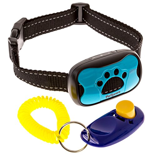 [Humane NO Bark Kit] by PetLovers, Anti Bark Collar with Dog Training Clicker, 7 Customized Sensitivity Levels for Your Dog, NO HARM NO SHOCK Bark Trainer for Small, Medium, Large Dogs 5-150LBS