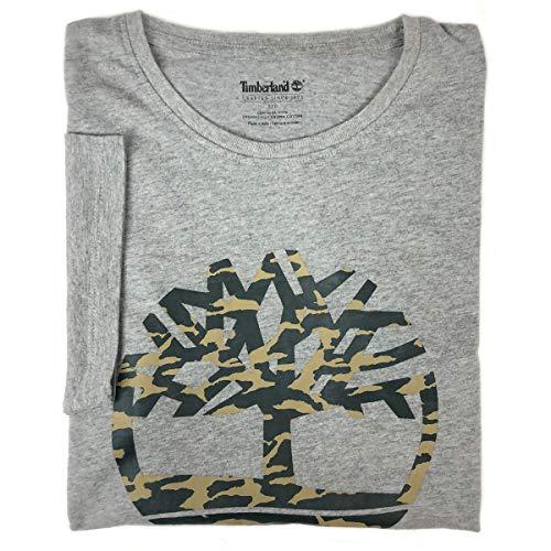 76acab944cafdb Timberland Men's Short Sleeve Camouflaged Tree Logo Cotton T-Shirt (Heather  Grey, Large)