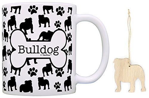 Bulldog Christmas Ornament & Bulldog Coffee Mug Tea Cup Bundle Dog Lover Stocking Stuffer (Cups Bulldogs)