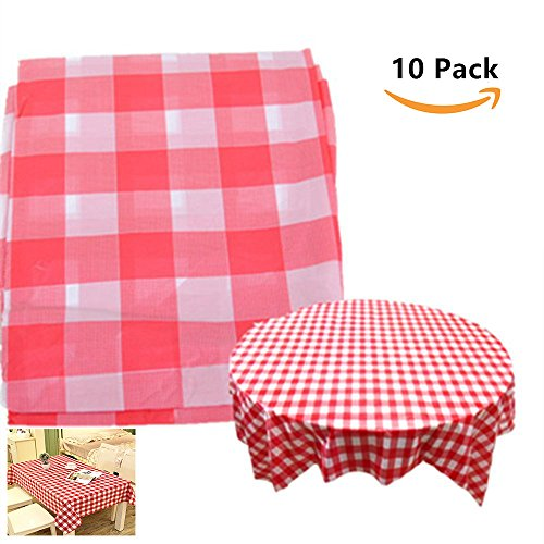 Red Checkered Tablecloth,10 Pack Plastic Table Cover Checkerboard Design Tablecloth Disposable Table Cover by Loves Town - Gingham Plastic Banquet Roll