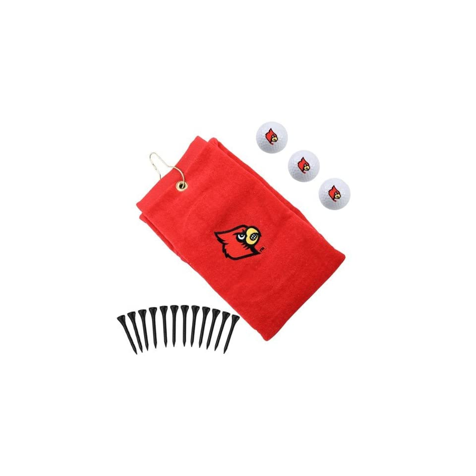 NCAA Louisville Cardinals Red Embroidered Golf Towel Gift Set