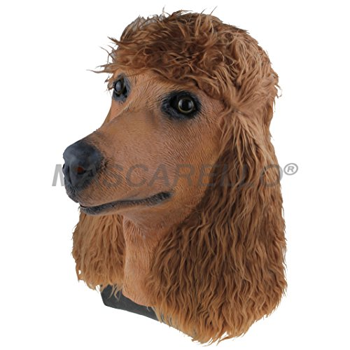 Dog Animal Head Latex Mask, Halloween Cosplay Costume Props Party Fancy Dress up (Brown Poodle Dog Mask) -