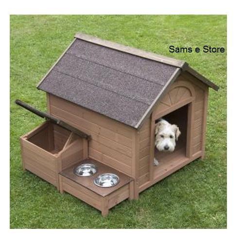 Sylvan Grande niche pour chien avec toit incliné qui s'ouvre, section de rangement séparée et aire d'alimentation surélevée Bois certifié FSC Niche pour chien en bois certifié FSC;