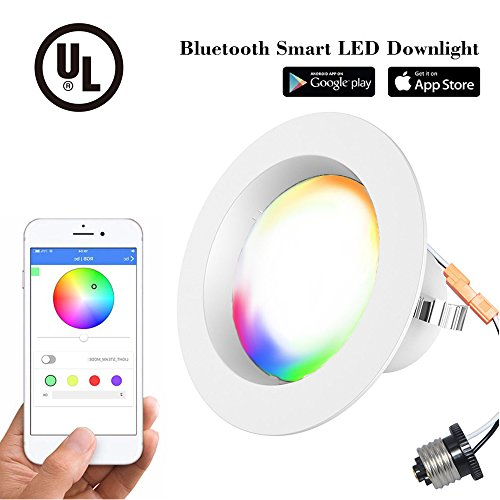 4 Inch Dimmable Led Downlight Retrofit Recessed Lighting Bluetooth Smart Downlight 9W(65 Equivalent) 810lm Ceiling Light 2700k