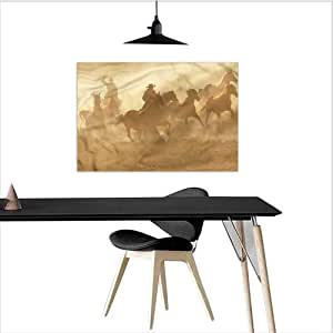 Amazon Com Homecoco Western Office Wall Decor Galloping Horses In Desert Raw Materials W20 Xl16