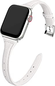MARGE PLUS Compatible Apple Watch Band 38mm 40mm Women, Slim Genuine Leather Watch Strap Replacement for iWatch SE Series 6 5 4 3 2 1, (White Band paired with Sliver Adapter)