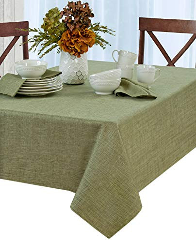 Green Woven Fabric - Newbridge Penington Solid Woven No-Iron Soil Resistant Fabric Tablecloth - 60 X 102 Oblong - Green