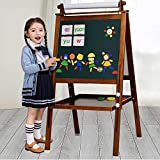 Kid's Wooden Art Easel Double-sided Easel for Kids Whiteboard&Chalkboard with Adjustable Stand &Turn (brown)