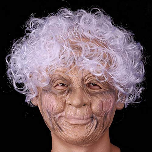 Yxsd Halloween Latex Full Face Mask Wrinkled Witch Mask Grandma with White Hair Costume Prop Party Cosplay -