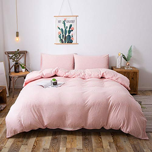 (Household Jersey Cotton Duvet Cover, Twin Size Blended Comforter Cover Set with Zipper Closure (Heathered Pink, Twin))