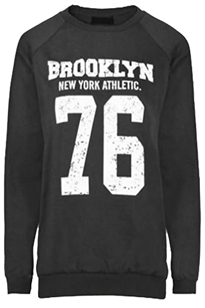 New Womens Ladies Dope Brooklyn Chicago Impreso Sudadera Jersey Manga Look con Forro Polar para 8 - 14: Amazon.es: Ropa y accesorios