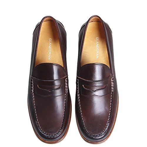 Elanroman Blake Italia Cosido A Mano De Moda Clásica De Lujo Para Hombre Mocasines Penny Casual Vestido De Cuero AuHombresto De Blake Zapatos Tan Oscuro