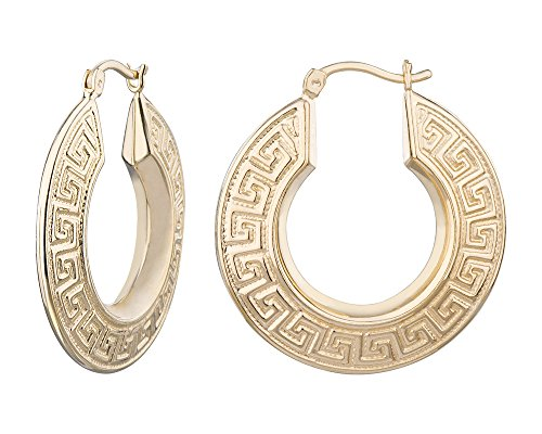 G&H Fashion Gold Plated Creole Greek Key Meander Click-Top Hoop Earrings