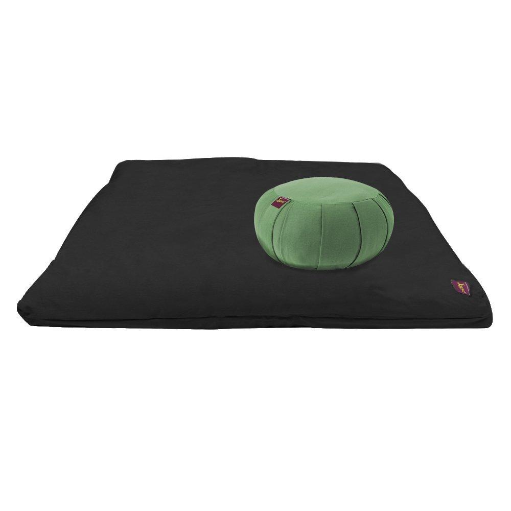 YogavniTM Yoga Meditation Deluxe Studio Grade Kit (set) by Yogavni (TM) (Black Zabuton and Sage Round Zafu with Cotton Filled) by YogavniTM (Image #1)