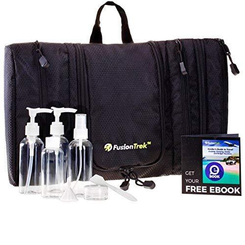 SUMMER SALE - Premium Travel Kit: Hanging Toiletry Bag, Dopp Kit/Unisex Slim Packing Organizer OR Travel Bottles Set, Airplane/TSA Approved + eBook for Vacation Tips by FusionTrek