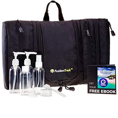 SUMMER SALE – Premium Travel Kit Hanging Toiletry Bag, Dopp Kit Unisex Slim Packing Organizer OR Travel Bottles Set, Airplane TSA Approved eBook for Vacation Tips by FusionTrek