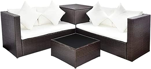Xinglieu Juego de sofás de jardín de 14 Piezas en polirratán Modular Marrón Juego de sillas y Mesa de jardín Mesa y sillas de jardín: Amazon.es: Jardín