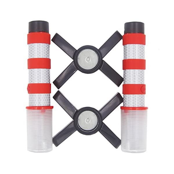 WISLIGHT LED Emergency Roadside Flares Safety Strobe Light Road Warning Beacon Flare Magnetic Base Detachable Stand Storage Case 1 Case Pack Battery Not Included