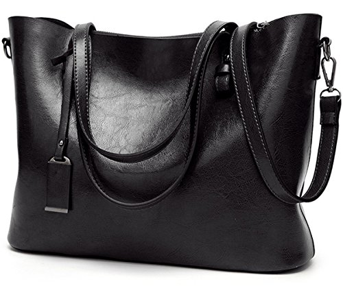 Black Bag PU Leather 1 Top Black Women's Shoulder Tote 1 Juilletru Handle Handbags Bags Fashion BwZT4Fqq