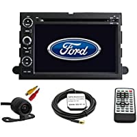 Car GPS Navigation System for Ford Fusion 2006-2009 / Ford Explorer 2006-2010 / Ford Mustang 2005-2009 / Ford F150 2004-2010/ F250 F350 2005-2014 / F450 2008-2013/ Ford Focus 2004-2007 / Ford Edge 2007-2010 / Ford Expedition 2007-2014 / Ford Taurus 2008 2009 Double Din Car Stereo DVD Player 7 Inch LCD Touchscreen TFT Monitor In-dash DVD Video Receiver with Built-In Bluetooth TV Radio, Support Factory Steering Wheel Control, Free Rear View Camera + Free GPS Map of USA