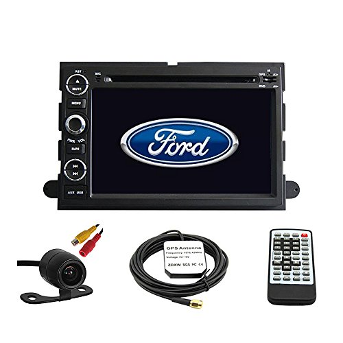 Car GPS Navigation System for Ford Fusion 2006-2009 / Ford Explorer 2006-2010 / Ford Mustang 2005-2009 / Ford F150 2004-2010/ F250 F350 2005-2014 / F450 2008-2013/ Ford Focus 2004-2007 / Ford Edge 2007-2010 / Ford Expedition 2007-2014 / Ford Taurus 2008 2009 Double Din Car Stereo DVD Player 7 Inch LCD Touchscreen TFT Monitor In-dash DVD Video Receiver with Built-In Bluetooth TV Radio, Support Factory Steering Wheel Control, Free Rear View Camera + Free GPS Map of USA (Map Of North And South America Labeled)