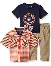 Baby Boys' Sport Shirt, Creeper and Pant Set