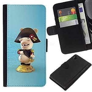 KLONGSHOP // Tirón de la caja Cartera de cuero con ranuras para tarjetas - Figura divertida - Sony Xperia Z2 D6502 //