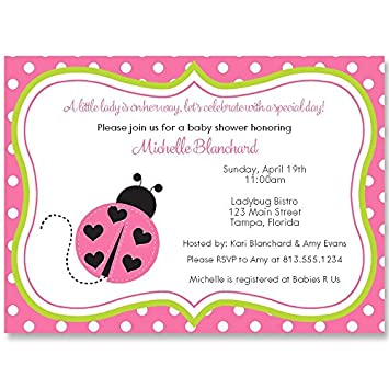 Amazon lil lady bug baby sprinkle shower invitation pink lil lady bug baby sprinkle shower invitation pink lime green filmwisefo
